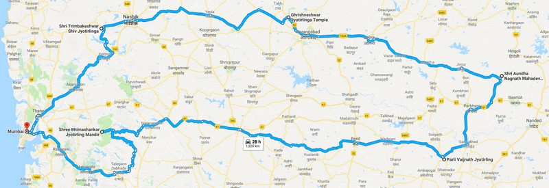 5 Jyotirlinga in Maharashtra - Route Map