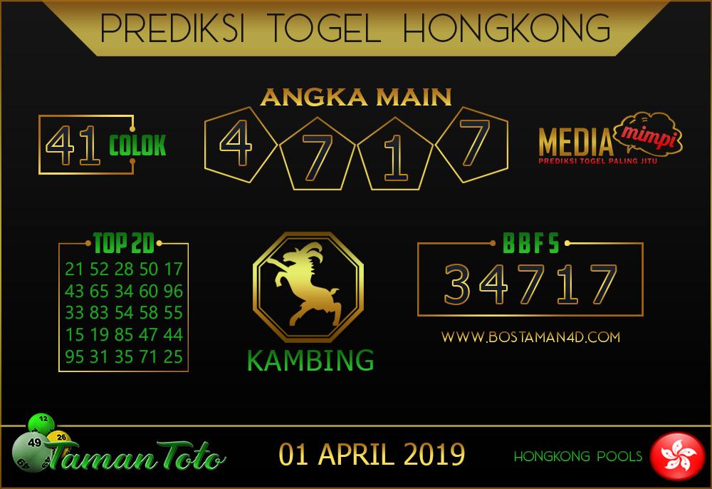 Prediksi Togel HONGKONG TAMAN TOTO 01 APRIL 2019