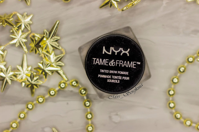 New year make-up 2018: golden accent. Step 10: NYX Tame&Frame Tinted Brow Pomade 03 Brunette