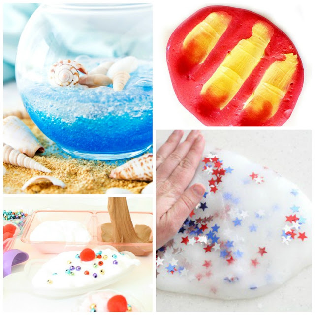 Ultimate guide to Summer Slime.  Over 20 great summer themed slime recipes, including ocean slime, sand slime, lemonade slime, and more!  Fun boredom buster for preschool, kindergarten, or elementary kids.