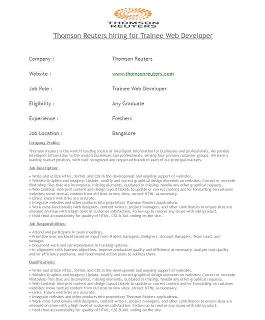 Thomson Reuters Hirings