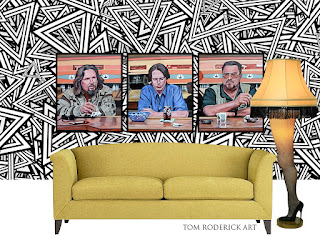 Pause for Reflection triptych paintings of the Dude, Donny and Walter by Boulder artist Tom Roderick