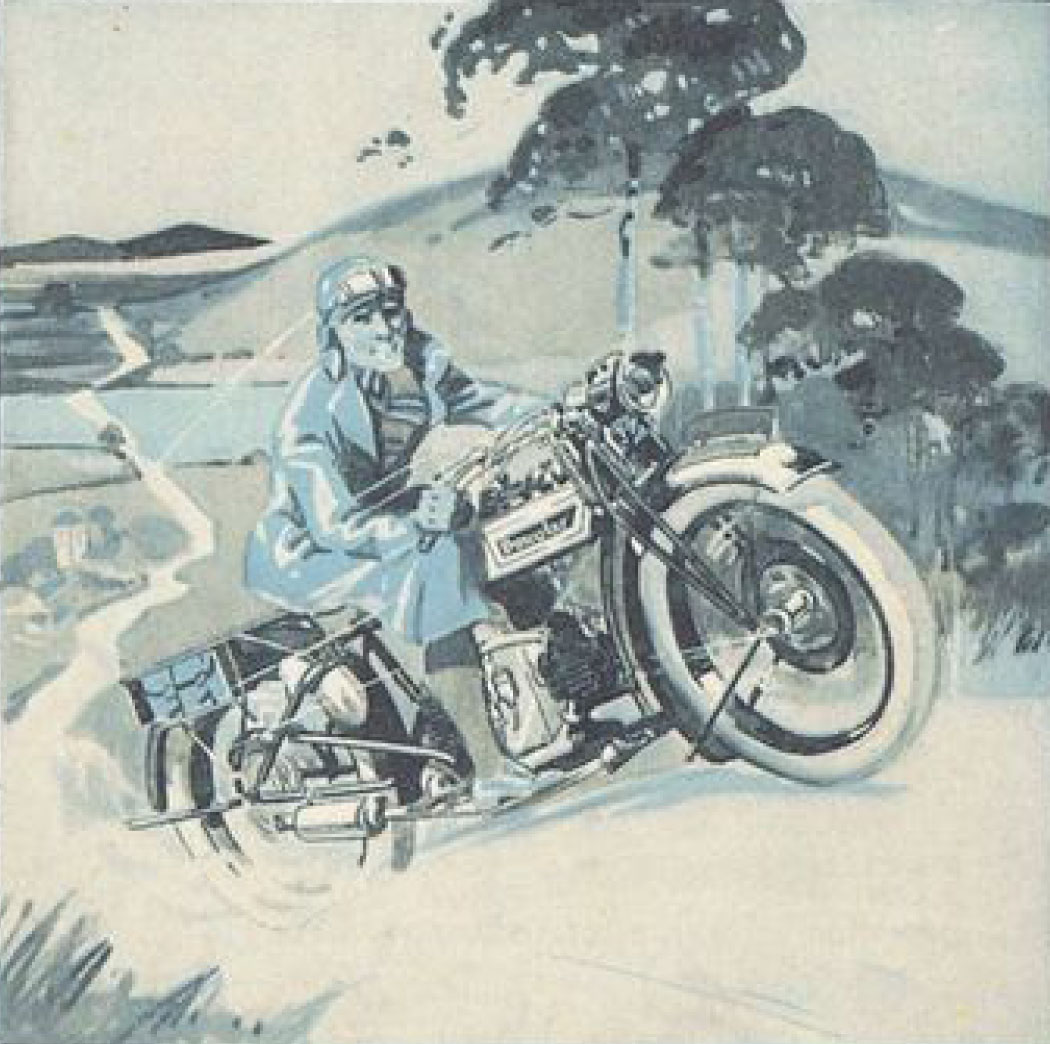 Illustration of rider going fast on Douglas motorcycle.