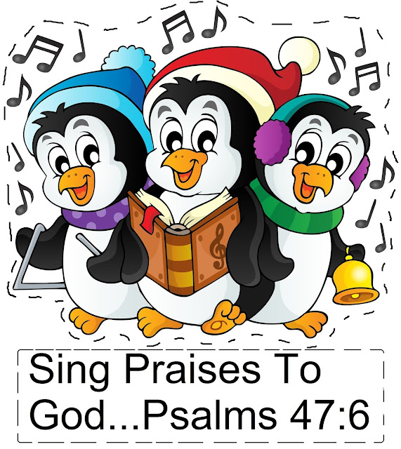 "Christmas Penguin Pop Up Card ""Sing Praises To God"" Psalms 47:6"