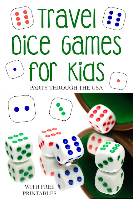 Travel Dice Game for Kids // Party Through the USA // Dice games are great for travel and camping because they're compact, washable, and can't blow away.  These games will fit in an Altoid tin and need only dice and a few other common things.  Free printable game rules and tin labels for all the games.  Rules are specifically written to be simpler and easier for children to play.