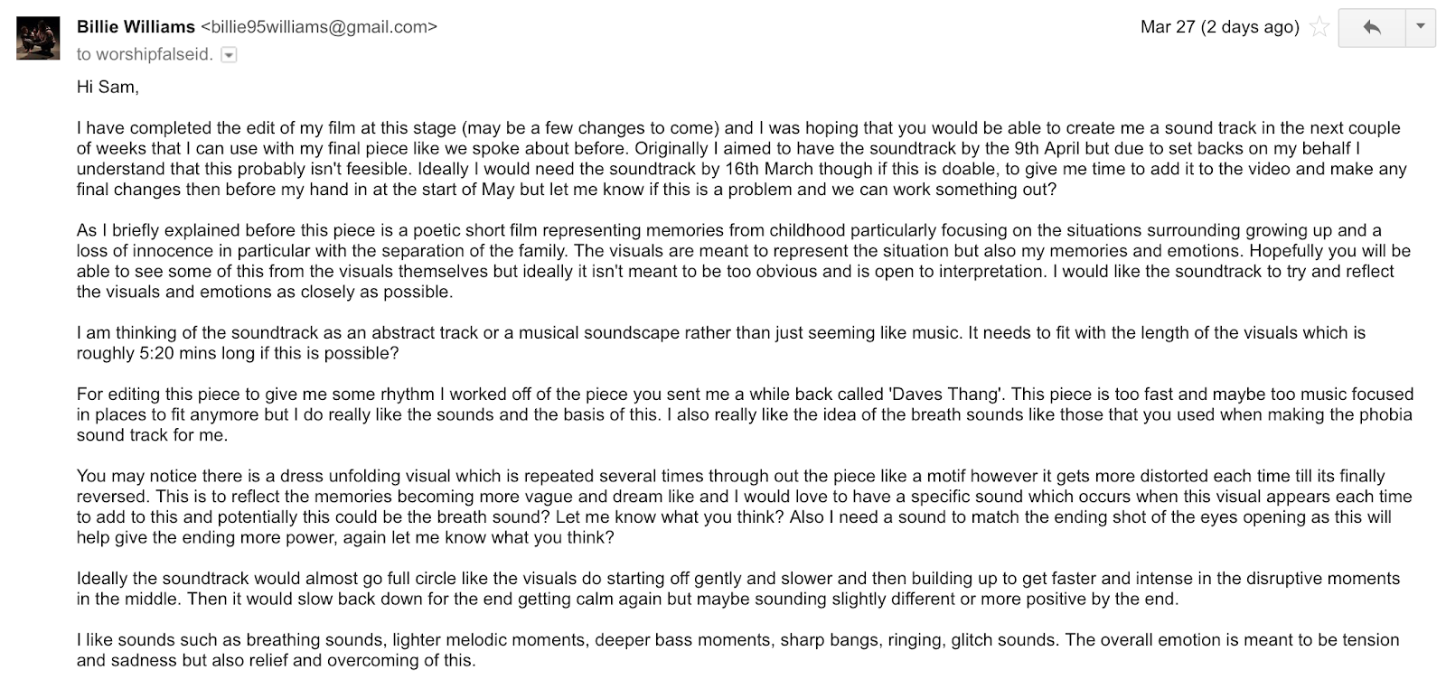The Musician Then Phoned Me To Let Know He Had Received This Email And Was Very Happy With Everything I Said Suggested Will Be