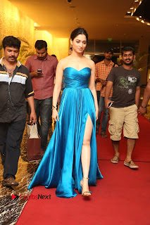 Actress Tamannaah Pictures in Blue Long Dress at Abhinetri Audio Launch  0182.jpg
