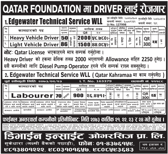 FREE VISA, FREE TICKET, Jobs For Nepali In QATAR FOUNDATION, QATAR Salary -Rs.58,780/