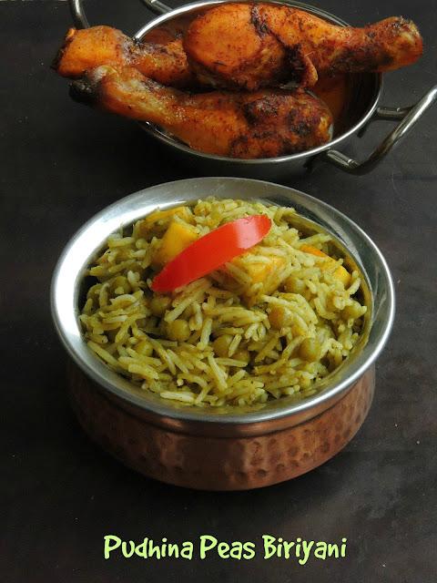Pudhina peas biriyani, Mint green peas biriyani