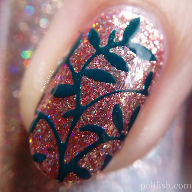 Leaf nail art with Born Pretty Store nail vinyls   polilish