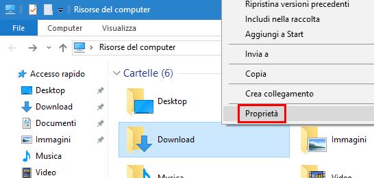 Menu contestuale Proprietà cartella Windows