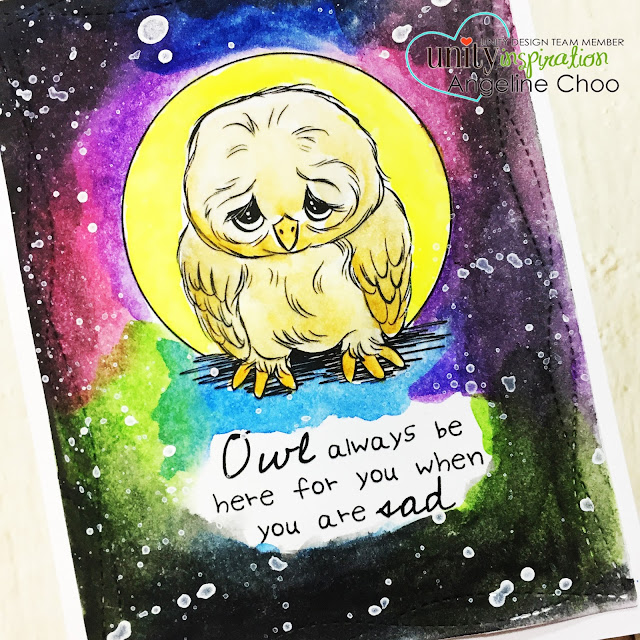 ScrappyScrappy: [NEW VIDEO] February Unity Stamp Blog Hop #scrappyscrappy #unitystampco #card #cardmaking #papercraft #craft #crafting #stamp #stamping #quicktipvideo #youtube #fwatercolor #galaxy #watercolorgalaxy #rainbowcolors #owl #gansaitambi