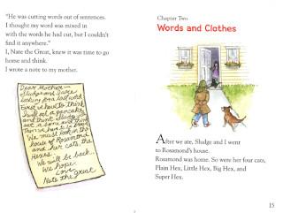 Nate the Great and the Wandering Word interior spread with handwritten note