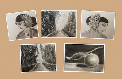 Charcoal drawings created during a Charcoal workshop