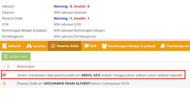 Invalid validasi dapodik diubah selain menggunakan aplikasi dapodik