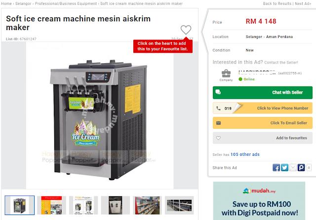 Penjual Dan Pembekal Mesin Aiskrim Lembut Di Malaysia