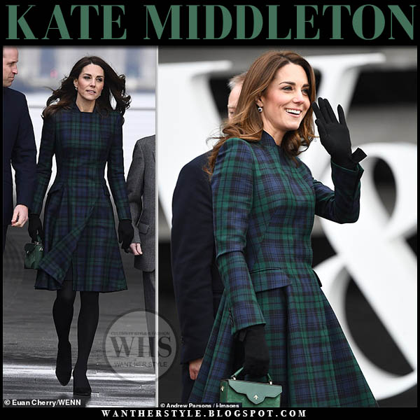 Kate Middleton in green and blue checked tartan coat with green leather top handle manu atelier bag royal family winter style january 29