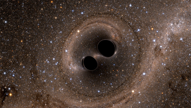 dois buracos negros prestes a colidirem - LIGO - SXS