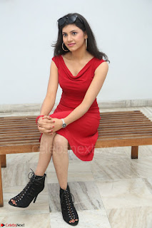 Mounika Telugu Actress in Red Sleeveless Dress Black Boots Spicy Pics 040.JPG