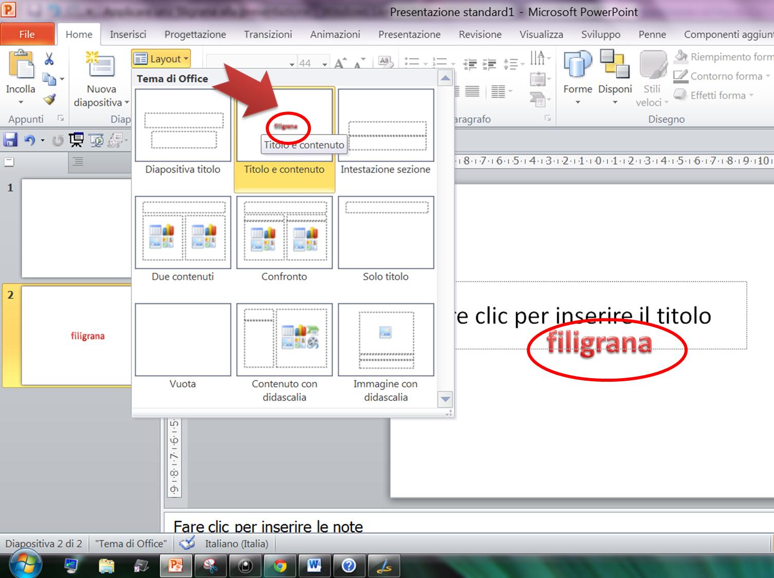 Come inserire immagine di sfondo in powerpoint