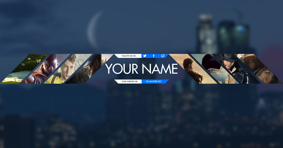 gamers youtube banner template psd photoshop cc cs6 free