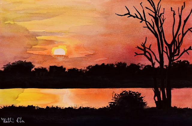 Sunset at Shire River in Malawi. Watercolor painting by Dora Hathazi Mendes