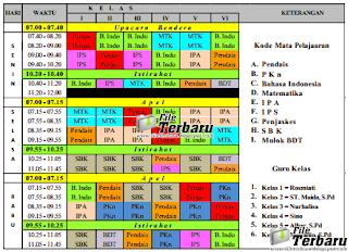 Download Aplikasi Jadwal Pelajaran Format Excel Terbaru Lengkap SD/MI, SMP/MTs, SMA/SMK