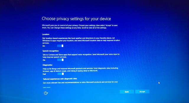 privacy settings windows 10 creator update