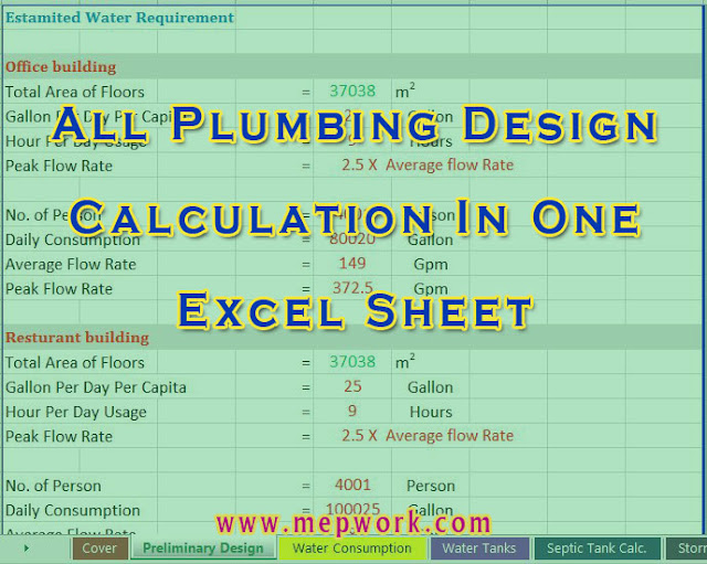 All Plumbing Design Calculation In One Excel Sheet