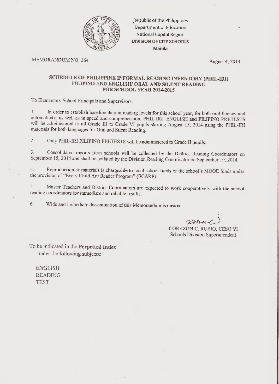 department of education manila division memorandum no  division memorandum no 364 schedule of philippine reading informal reading inventory phil iri filipino and english oral and silent reading for school