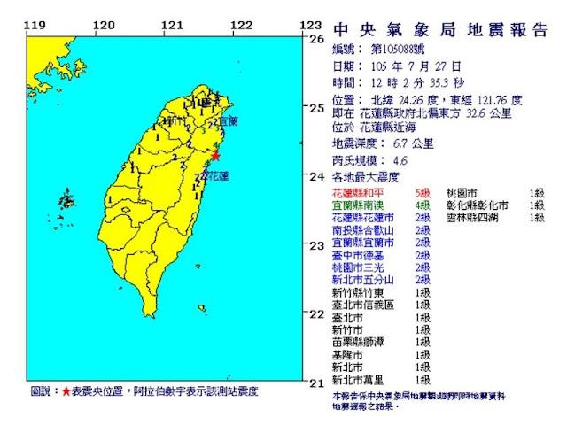 Hualien Taiwan Gempa 4,6 Skala Richter