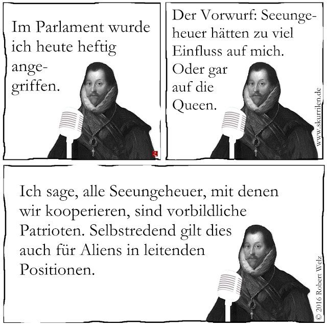 Fantasy trifft Politik. Francis Drake muss sich Anfeindungen im englischen Parlament stellen. Natürlich nehmen Seeungeheuer & Aliens keinen wesentlichen Einfluss auf die Politik der Krone.