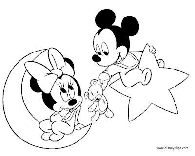 desenho da Minnie e Mickey baby para pintura de fralda