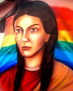 Gráfico de Micaela Bastidas en mural a color