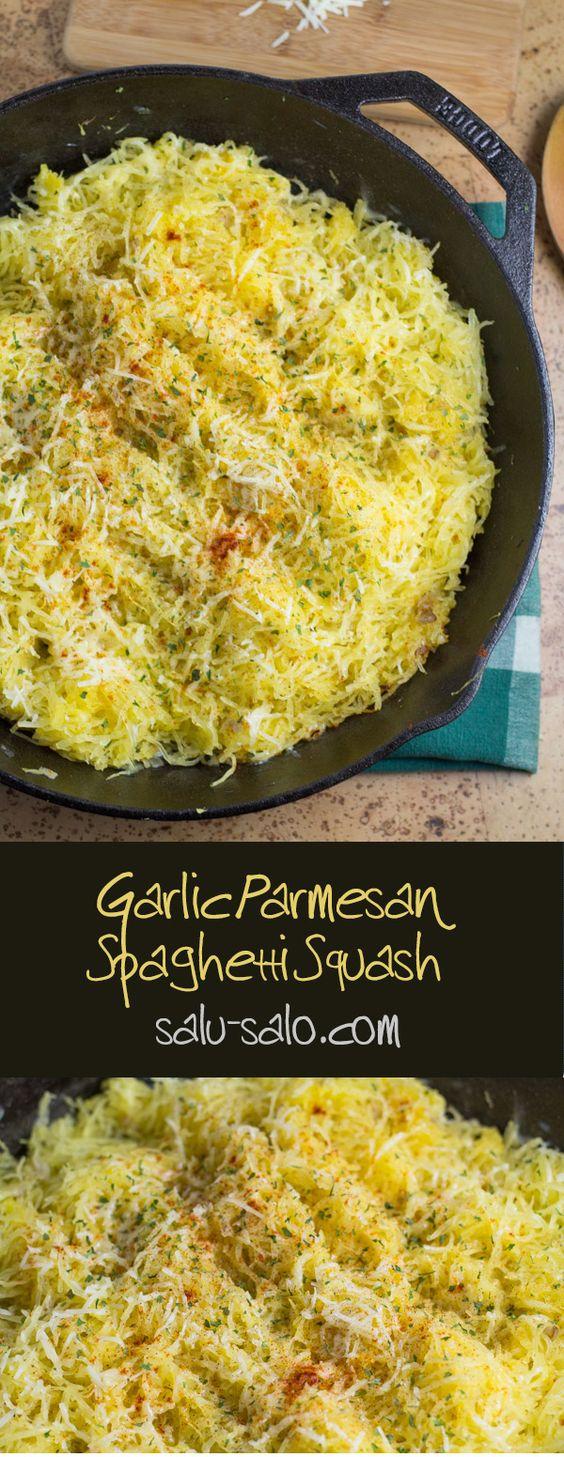 GARLIC PARMESAN SPAGHETTI SQUASH #garlic #parmesan #spaghetti #squash #vegetarianrecipes #veggies #spaghettirecipes