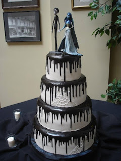 Halloween Wedding Cakes with Custom Bride and Groom in Ghost themed cake topper