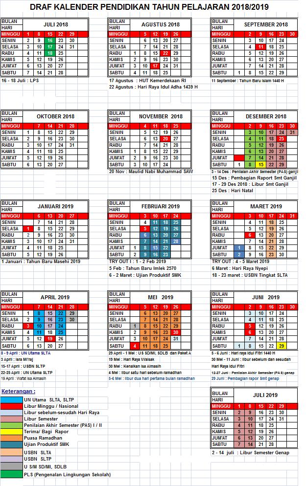 Download Kalender Pendidikan Tahun Ajaran 2018 Dan