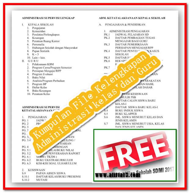 Download Format Administrasi Kelas & Guru Lengkap Tahun 2017/2018