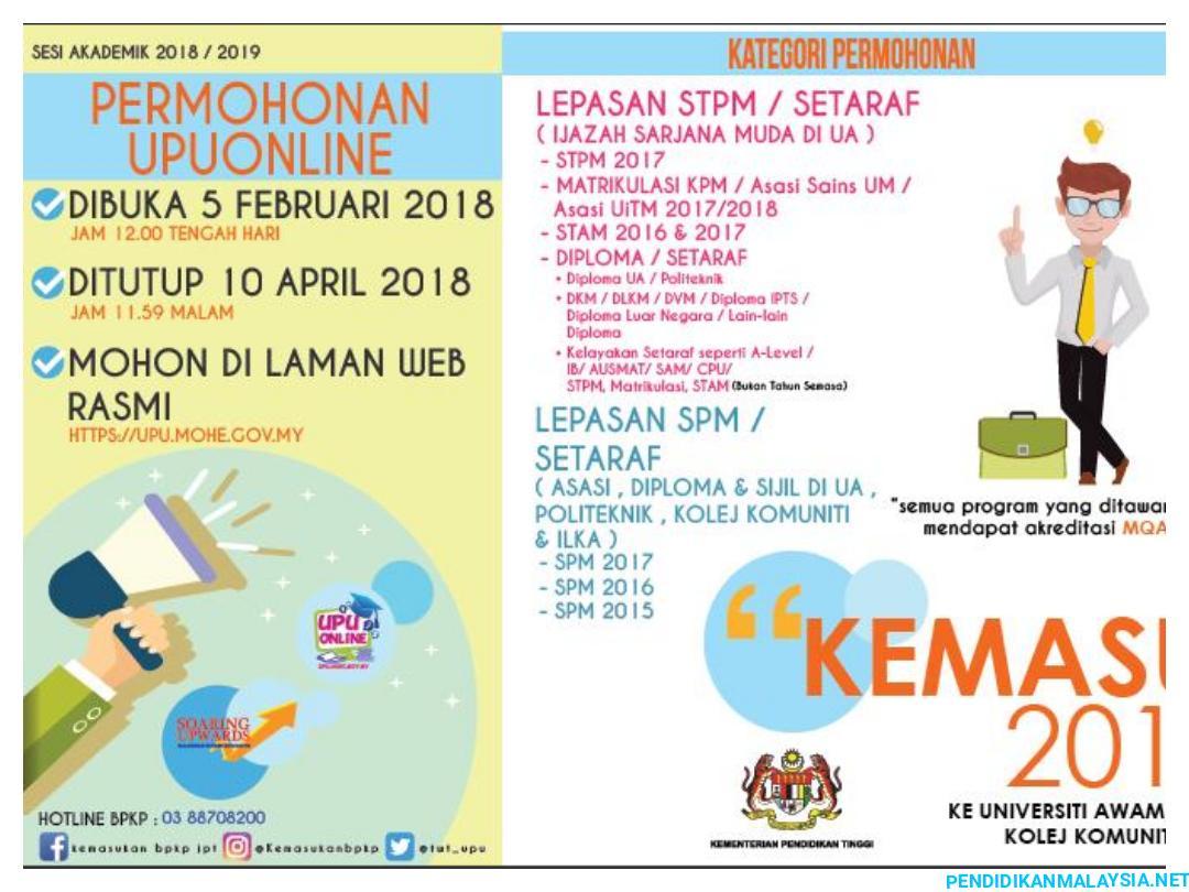 Kategori Permohonan Upu Lepasan Spm Stpm Pendidikan Malaysia