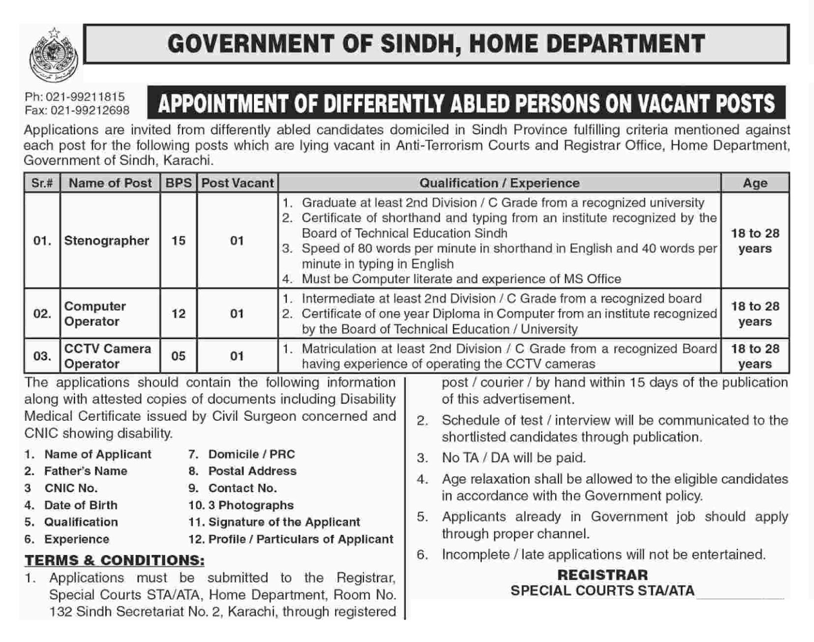 Home Department Govt Of Sindh Jobs 2019