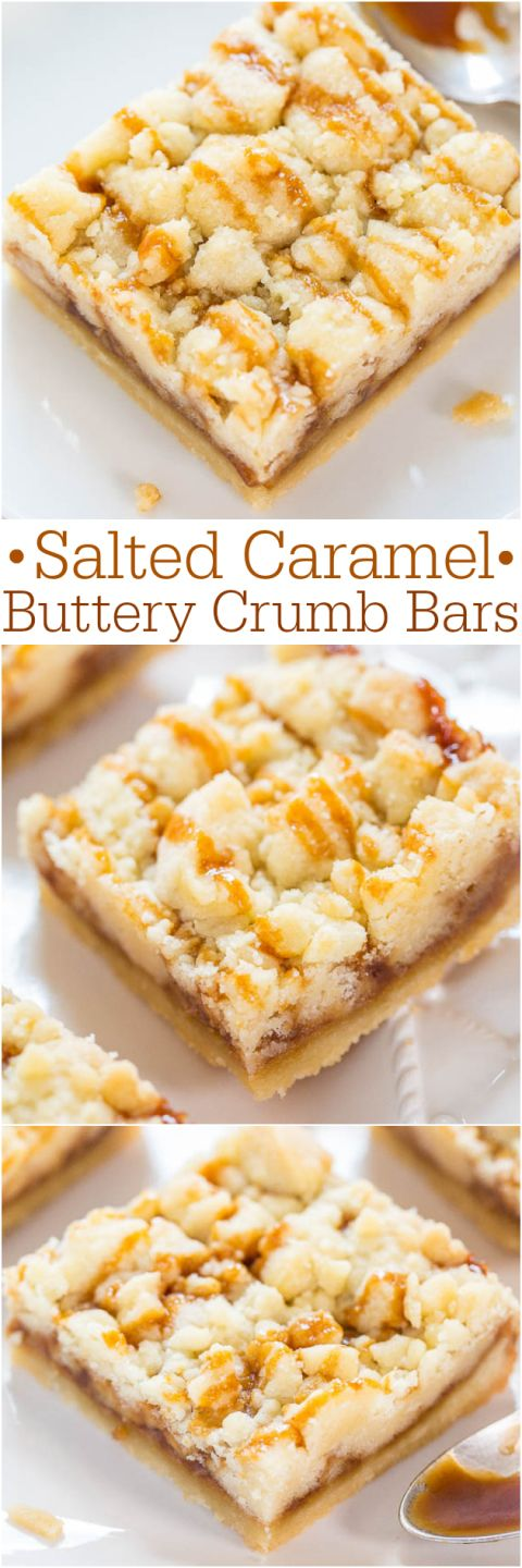 Salted Caramel Buttery Crumb Bars Recipe