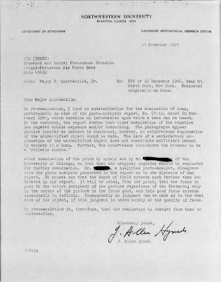 Letter From Hynek To Quintanilla 11-17-1967 (Re UFO Sighting New York, Dec 1966)