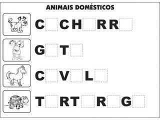 Jogos e atividades para alfabetização - Complete as palavras - Animais Domésticos