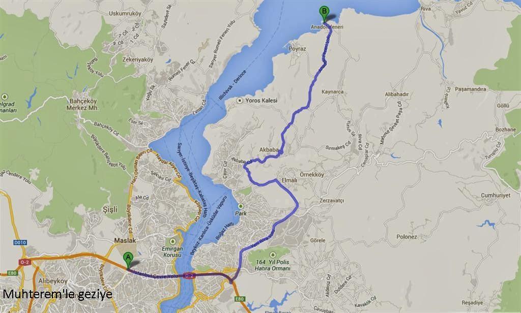 Anadolu Feneri köyü harita