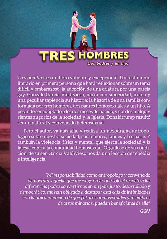 Ilustración y diseño de portada para el libro Tres hombres de Gonzalo García Valdivieso por Hache Holguín