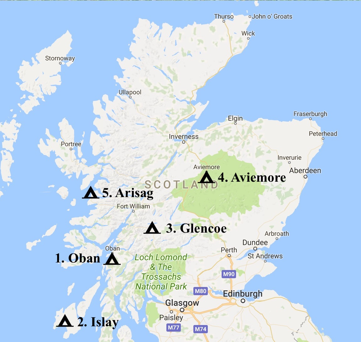 Map showing the best campsites in Scotland, www.CalMCTravels.com, The best campsites in Scotland