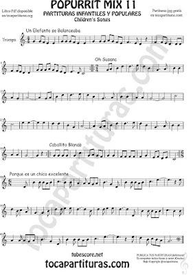 Trompa y Corno Francés en Mi bemol Partitura de Un elefante se balanceaba, Oh Susana, Es un chico excelente y Caballito Blanco infantil Popurrí Mix 11 Sheet Music for French Horn Music Scores