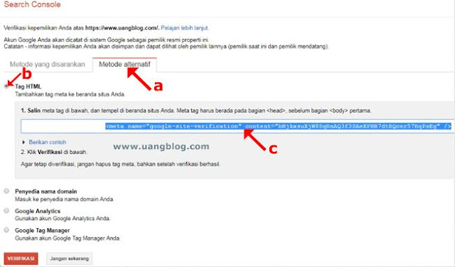 Copy Meta Tag Google Site Verification
