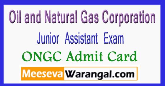 ONGC Junior Assistant Exam Admit Card 2018