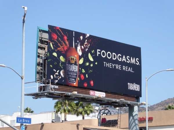 Foodgasms Tabanero hot sauce billboard